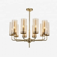 Factory Sales Cafe, Bar New Glass Pendant Lamp Smoke Chrome Copper Amber Glass Cup Chandelier