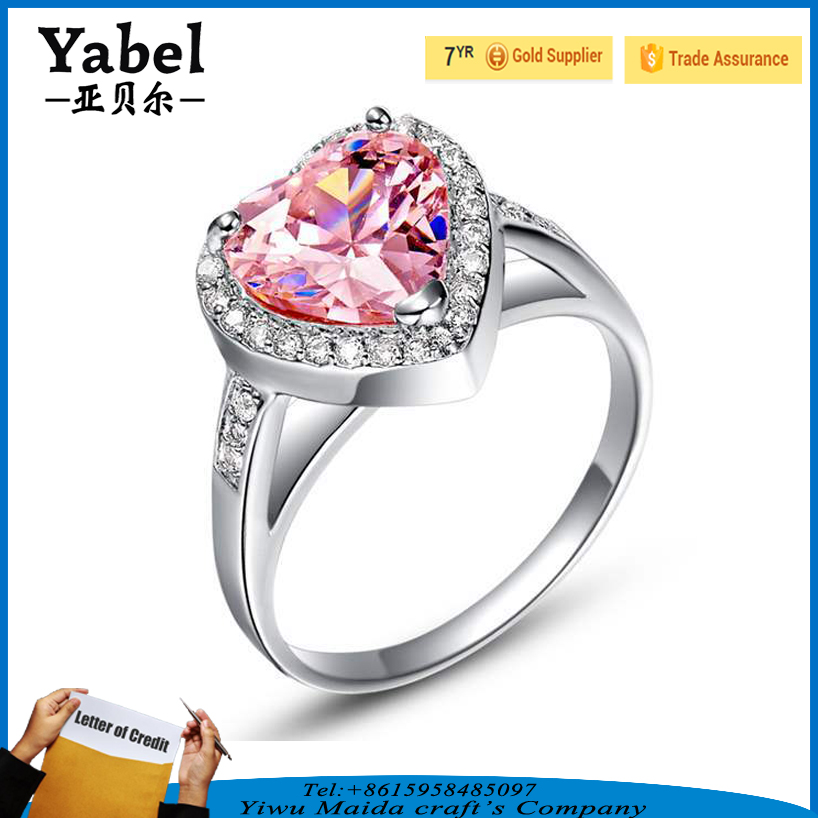 Hot Sale Silver 925 Designer Pink Zircon Finger Rings With Heart Shape