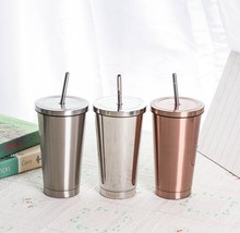 BPA Free Double Wall Stainless Steel Coffee Tumbler <strong>Cup</strong> With Straw