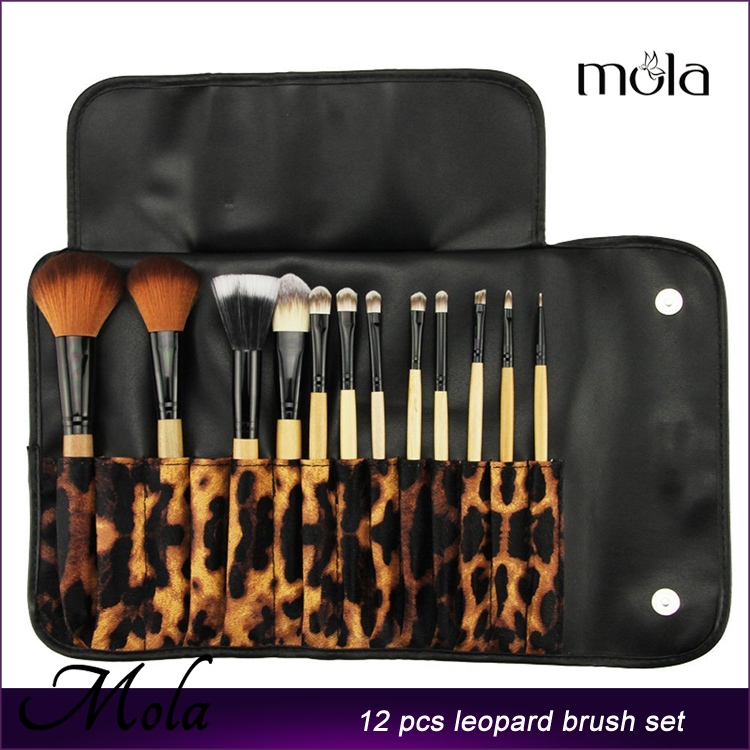 12PCS Professional private label Makeup Brushes Set with Roll Up Leopard Bag Wood
