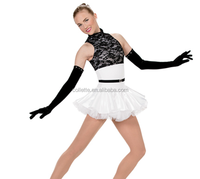 MBQ321 black lace white lycrial leotard Tulle Bustle leotard ballet competition costume tutu dress