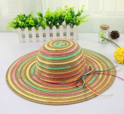 Wholesale Stylish rainbow style women girls sun visor caps with lace scarves topee Hand-woven sunhats summer beach straw hats