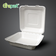 Thermal food bagasse paper pulp packaging 8 inch container biodegradable alternative for polythene lunch box