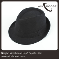 Classic Men Cheap Black Fedora Hats Made In China Y040312