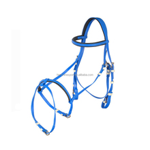 Wholesale Blue leather grain bridle for horse racing