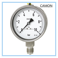 Water stainless steel bourdon tube pressure gauge