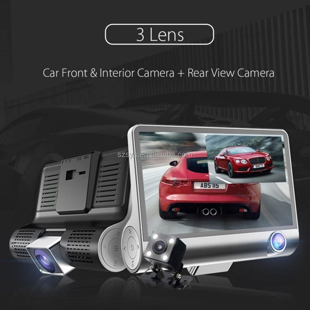 Car Dual Backup Lens Camera Dvr Camcorder Full HD 1080p Dash Cam G-sensor Rear Vehicle View Black box Loop Recording
