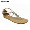 SEAVO SS18 charming colorful rhinestone design women zoris flat sandal