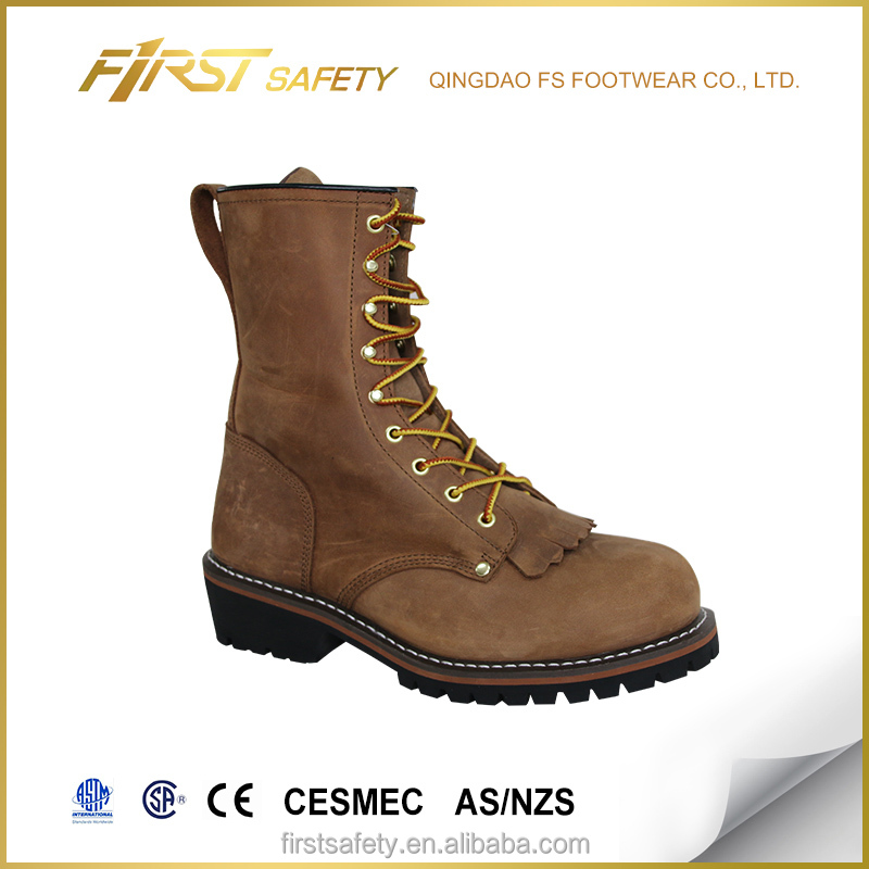 FS8007 genuin leather logging boots