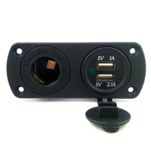 Car Modification 2 USB Ports Multifunction 5V 2.1A 1A Car Charger With Cigarette Lighter Socket