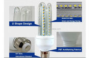 Energy saving bulb light e27 16w led corn bulb u shape