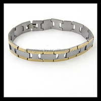 wholesale gold side stainless stee ion health power bracelet