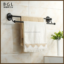 Modern Kitchen Factory Supplier Circle Tube Matte Black Zinc Alloy ORB Mounting Bathroom Hardware Double Towel Racks