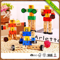 Transformable DIY Wooden Educational Robot Toys