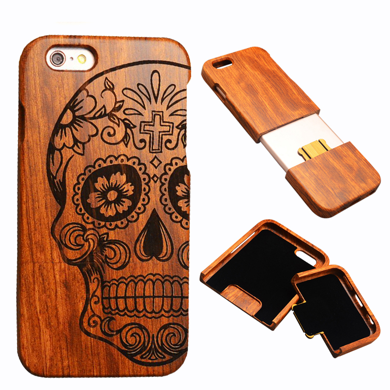 Cell Phone Case Wood carving Fashionable Pattern design Detachable Flower Pear Wood Case smartphone case for iphone 7 7 plus