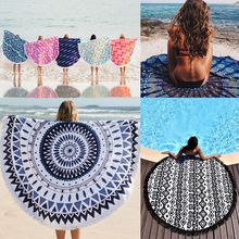100% cotton mandala Printed Round beach towel with tassels