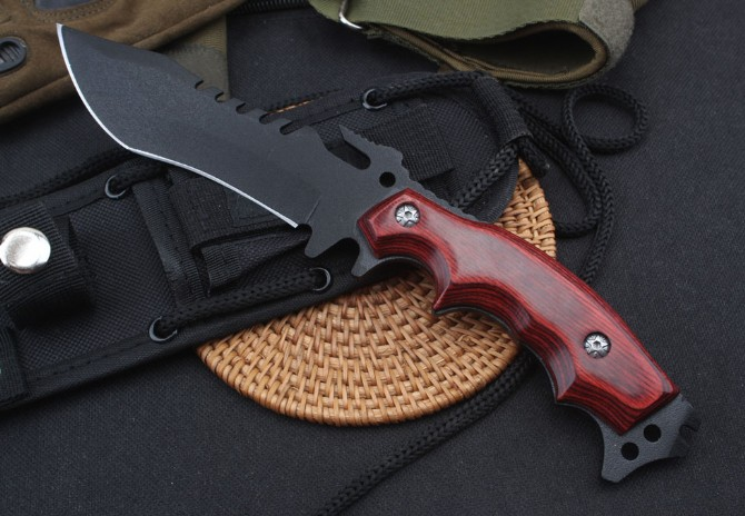 Steel + Wood Handle Fixed Tactical Knife Rescue Outdoor Knives 58HRC Multifunction Tool with Nylon Sheath Dropshipping 8284