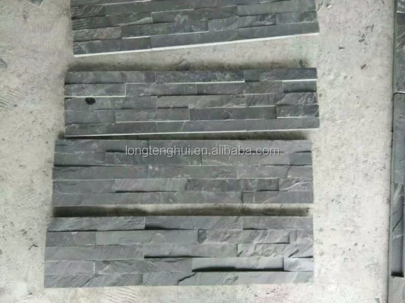 Black color natural slate stone wall facade