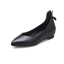 Good Quality Bowknot Heighten Pointed Toe Handmade Leather Ladies Elegant Flat Shoes