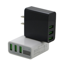 Fast Charging Universal 5V 3A Current Voltage Display 3 USB Ports LCD Travel Charger