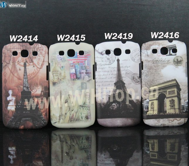 Various Designs Europe Ancient Eiffel Tower&Stamps Style Matte Print Hard Case Cover for Samsung Galaxy S3 i9300 Factory Price