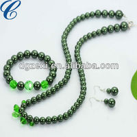Green color Natural Pearl Necklace, Bracelet Stud Earrings For women Wedding Accessories Pearl Jewelry Sets