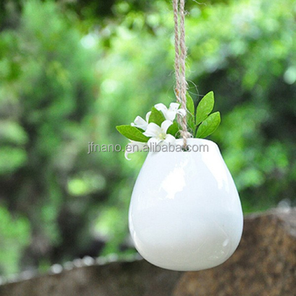 Cute home decor mini white ceramic hanging planter
