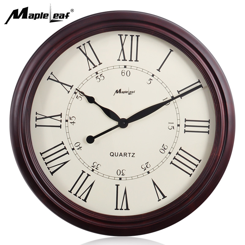 25 inches Retro Big Size Home Decoration Black Hands Round Wooden Quartz Wall Clock with Large Roman Dial