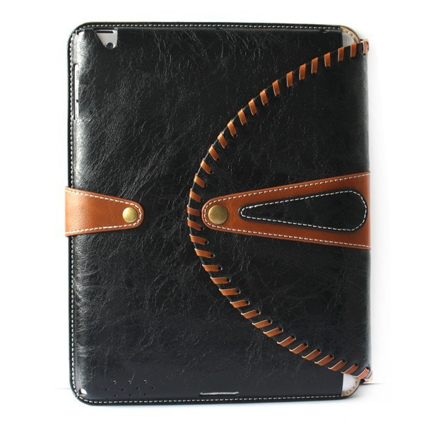 West Cowboy Classic Fashion Style Genuine Leather Smart Cover Stand Case For iPad 2/3/4 With Vintage Button Tablet Bags