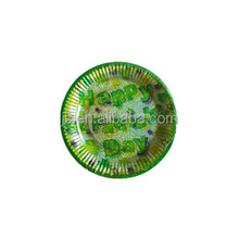 Bright green colour paper plate and dona