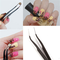 10 pcs Nail Art Anti Static Stainless Steel Tweezers Velvet False Nail Fetching Drill Perturbation Curved Straight Tools