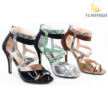 FLAMINGO 2015 LATEST ODM/OEM Snake material Sexy ladies shoes /open toe for women ankle boots