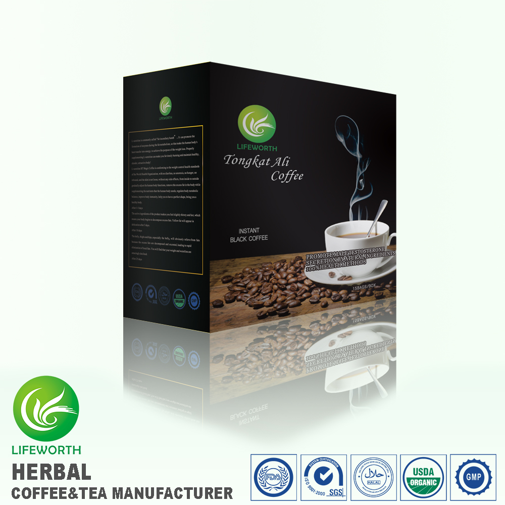 Lifeworth China supplier instant black tongkat ali coffee with bottom price for big distributors