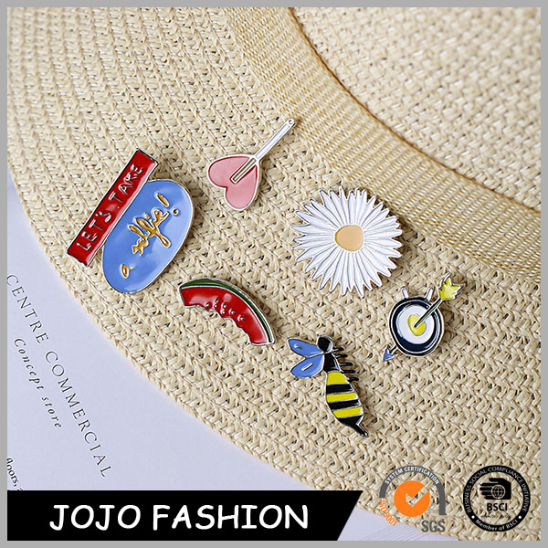 Fancy lapel pin manufacturers , flower,bee,watermalon, heaert shape lapel pin