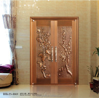 High level true copper double modern entrance door with hand-made beautiful hollow flowers for villa, house