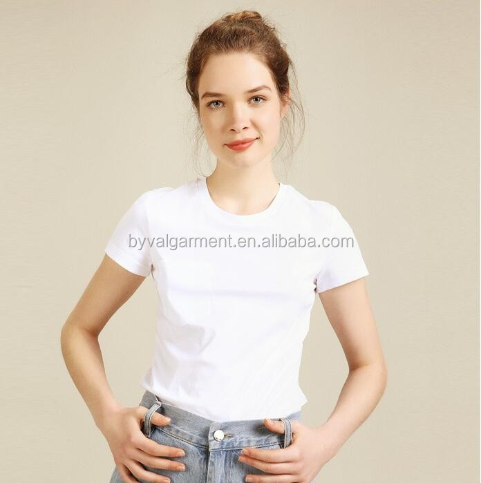 Wholesale plain blank t-shirt custom printing o-neck short sleeve t-shirt for women 100% cotton