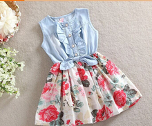 2017Baby Girl Dress Summer Children Sleeveless Christmas Girls Denim Floral Dresses Kids Princess Bowknot Flower Dress