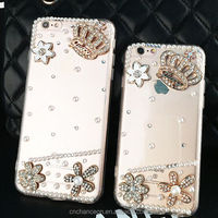 Phone accessories, crown flower design TPU Arcylic bling crystal diamond phone case for iphone 5 5s 6 6s 6plus 6splus