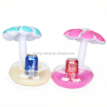Cute Design Inflatable umbrella cup holder Float Floating Can Holders