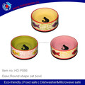 2014 new ceramic yellow cat bowls,Factory direct hot sell ceramic cat bowl with vivid color