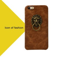 Hotselling Lion Genuine Leather Case For Sony Xperia z l36h with Stand Ring