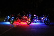 10Pc RGB/Red/Green/Blue/Yellow Glow Lights LED Strips Kit Fits Harley Motorcycle