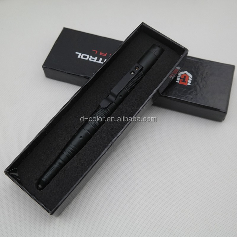 Amazon Ebay hot selling Tactical pen defense tungsten flashlight pen set free logo eacape pen