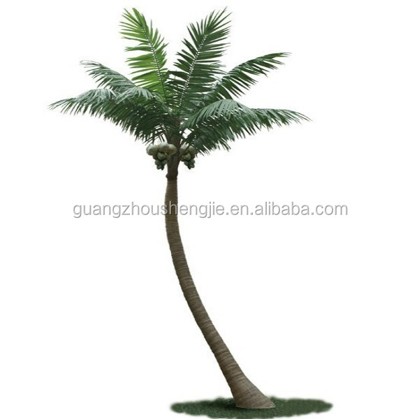 LX0305014 bend trunk coconut tree outdoor decoration cheap artificial palm tree
