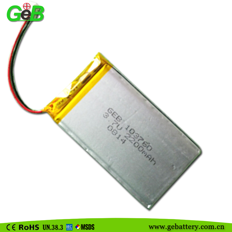 Cellphone battery GEB103760 3.7V 2200mAh lithium polymer rechargeable battery
