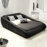 Modern style black king size leather bed
