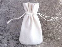Small Cotton Bags, Unbleached Ivory Fabric Pouches, Jewelry Storage