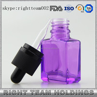 fancy glass perfume bottles 15ml purple glass dropper bottle