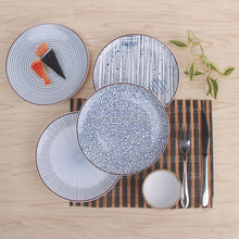 Japanese style restaurant ceramic Sushi dessert plate household porcelain 20cm food dish with blue color