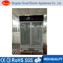 refrigerated produce display cooler commercial double glass door refrigerator
